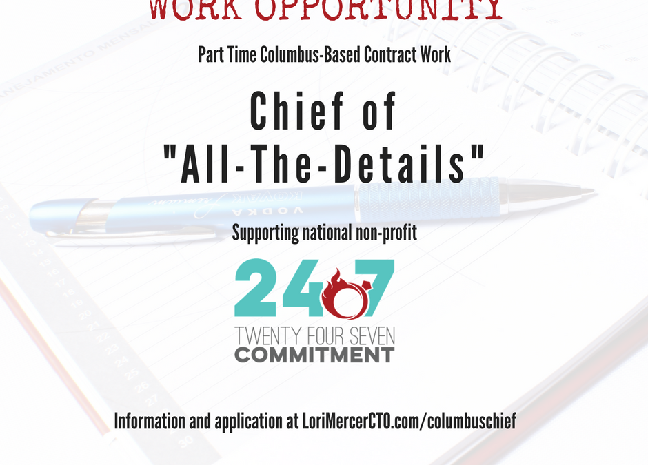 "Columbus, Ohio:  ""Chief of All Details"" for Non-Profit, Partial Remote Work"