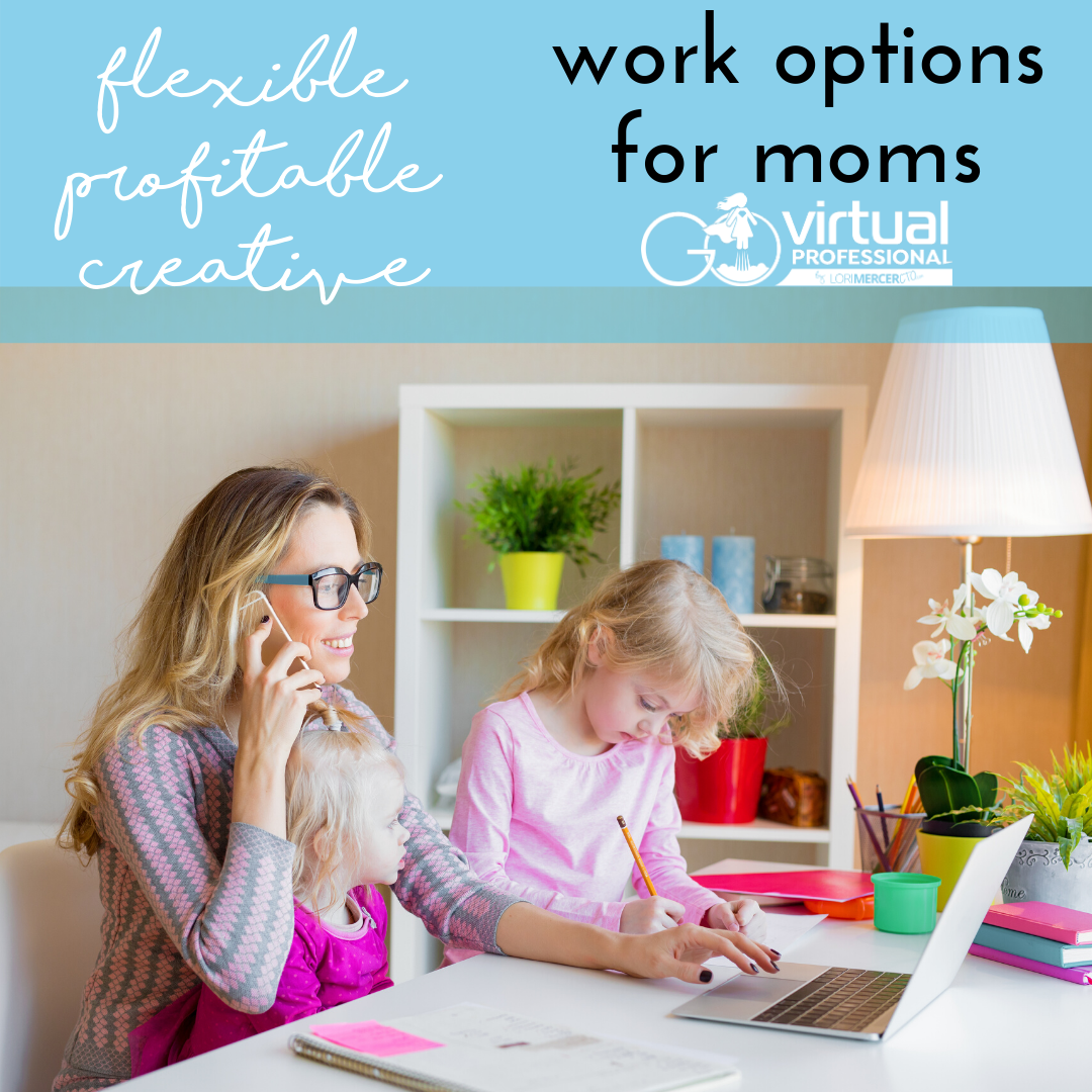 Mom working from home with kids at table