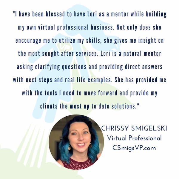 Testimonial Image and Quote about Lori mentoring program